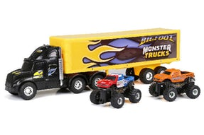 "Monster Truck Hauler 22"" med 2 trucks 1:43"