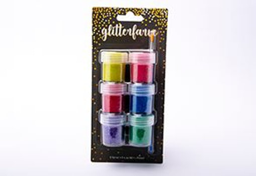 6 x 20ml glitterfarve + pensel
